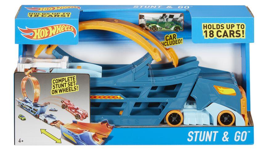 Mattel Hot Wheels Stunt N Go Transporter und Trackset