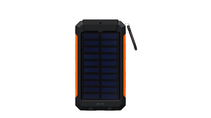 Zusatzakku XLayer Powerbank PLUS Solar schwarz orange 8000mAh Smartphones Tablets