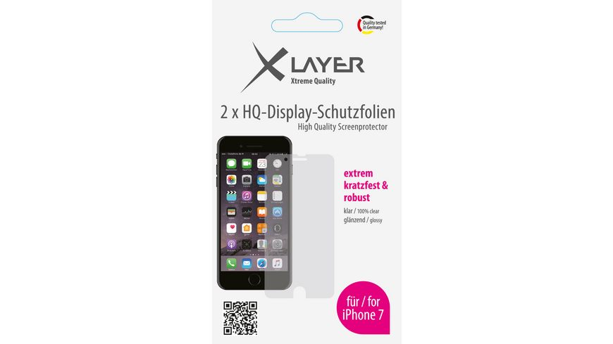 Schutzfolie XLayer 100 clear 2x iPhone 7 4 7