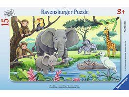 Ravensburger Puzzle Rahmenpuzzle Tiere Afrikas 15 Teile