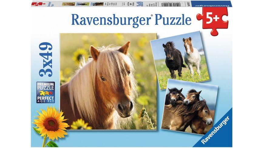 Ravensburger Puzzle Liebe Pferde 3 Kinderpuzzles inkl Mini Poster 3x49 Teile