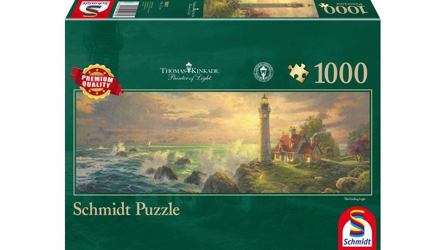 Schmidt Spiele Thomas Kinkade Leuchtturm Idylle Panoramapuzzle 1000 Teile