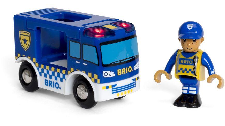 BRIO Bahn Polizeiwagen mit Licht und Sound