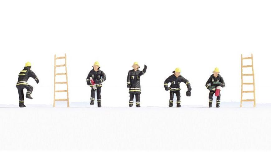 NOCH 15021 H0 FIGUREN Feuerwehr schwarze Schutzanzuege
