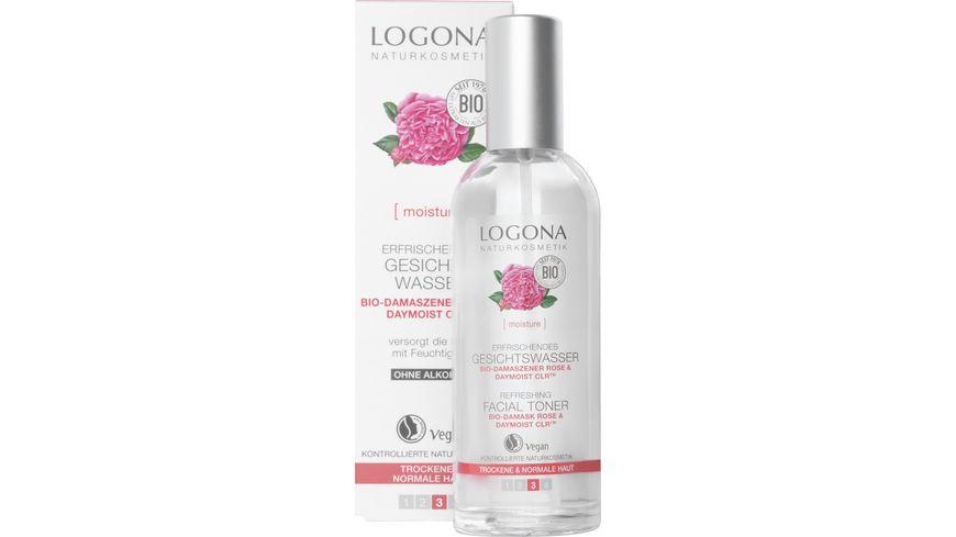 LOGONA Erfrischendes Gesichtswasser Bio Damaszener Rose DayMOIST CLR