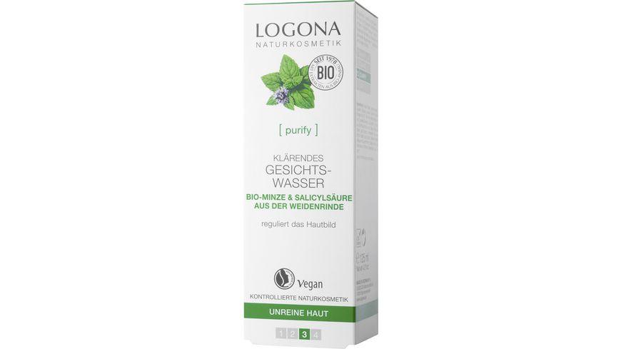 LOGONA Klaerendes Gesichtswasser Bio Minze Salicylsaeure aus der Weidenrinde