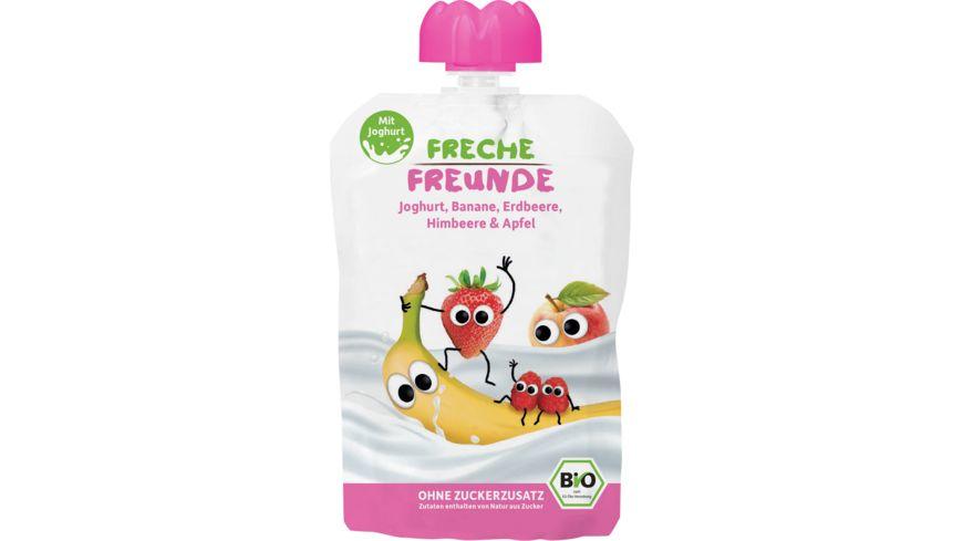 Freche Freunde Bio Quetschie Erdbeere Himbeere im Joghurt