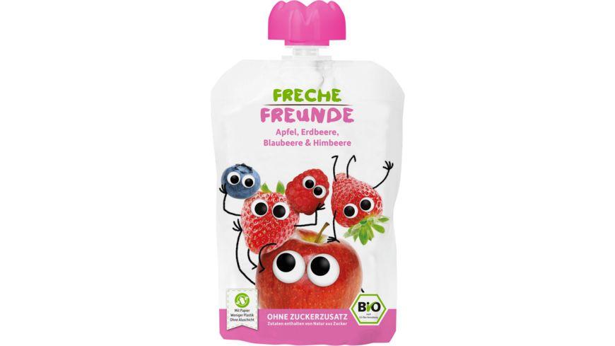Freche Freunde Bio Quetschie 100 Apfel Erdbeere Blaubeere Himbeere