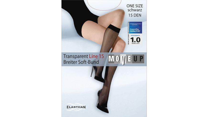 MOVE UP Damen Kniestruempfe Transparent Line 15 DEN