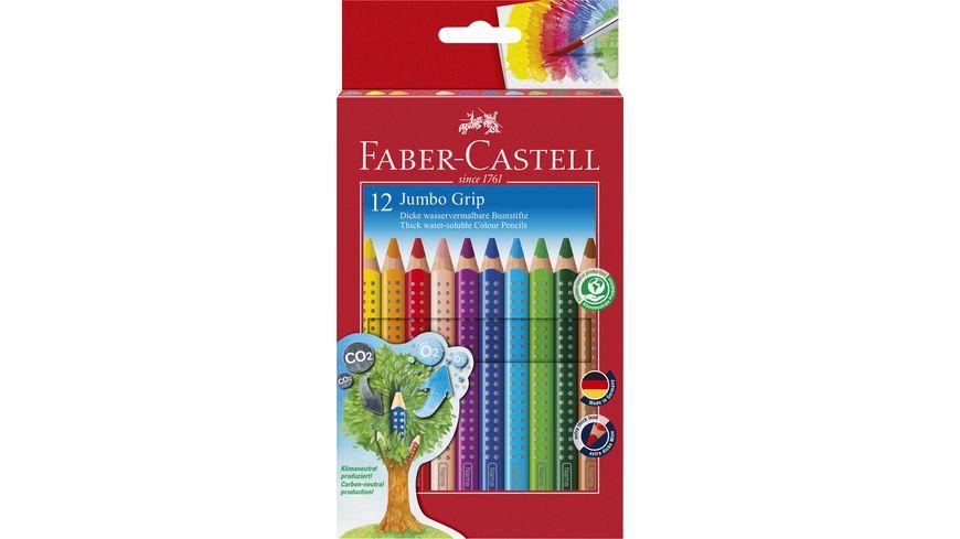 FABER-CASTELL JUMBO Farbstift Grip 12er-Etui mit Spitzer