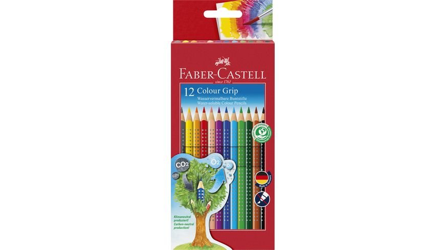 FABER CASTELL Farbstift Grip Colour 12er Etui Karton
