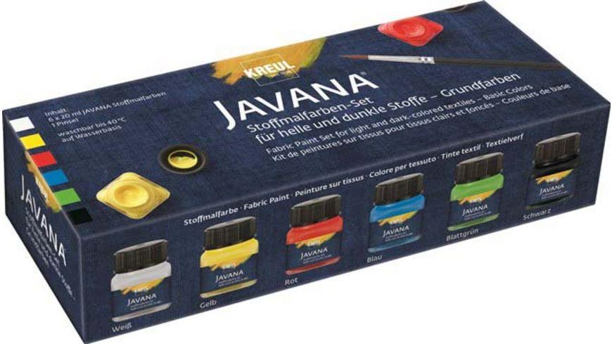 KREUL Javana Stoffmalfarben für helle und dunkle Stoffe 6er Set Grundfarben
