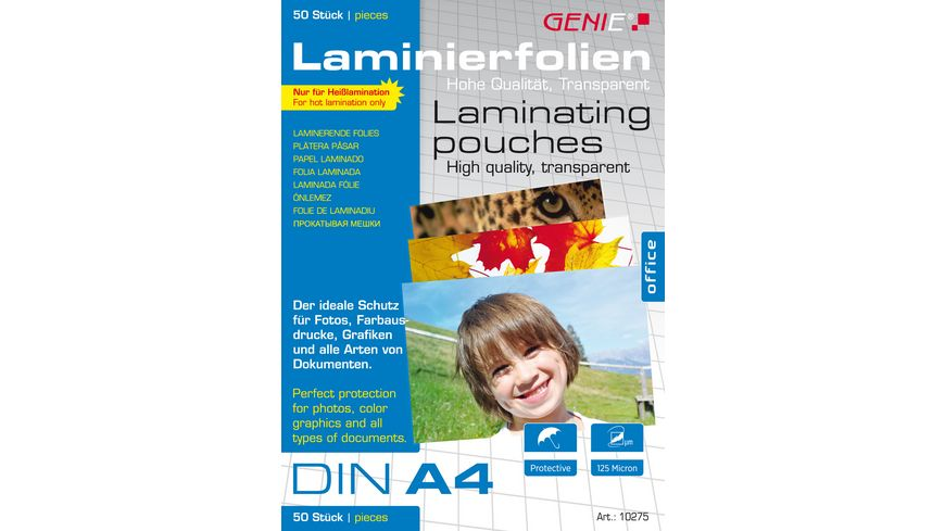GENIE Laminierfolien DIN A4 50er Pack