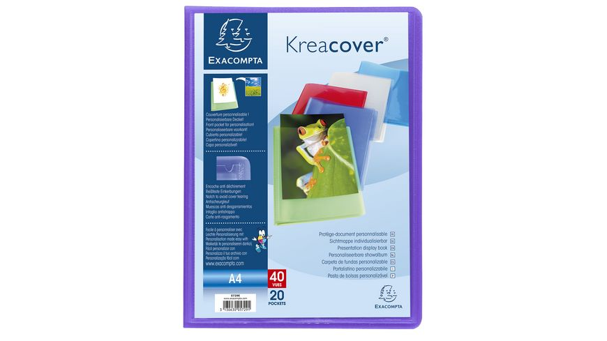 EXACOMPTA Sichtmappe mit 20 Huellen Krea Cover A4 farbig sortiert