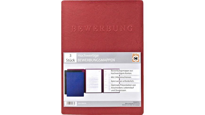 PAGNA Bewerbungsmappe Pappe in verschiedene Farben 3er Pack