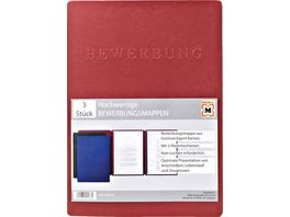 PAGNA Bewerbungsmappe Pappe 3er Pack blau oder rot sortiert