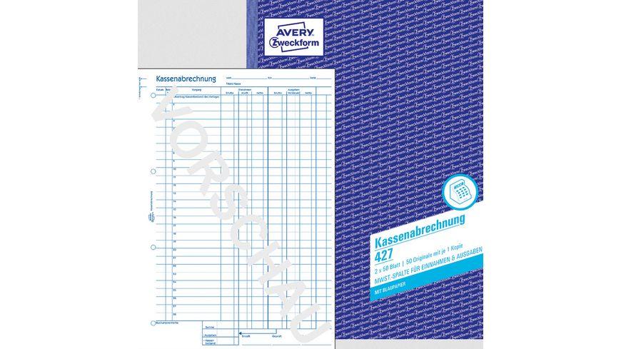 AVERY Zweckform Kassenabrechnung 427 1.& 2.Blatt bedr. MwSt.-Spalte Ein-Ausgaben, DIN A4