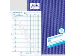 AVERY Zweckform Kassenabrechnung 427 1 2 Blatt bedr MwSt Spalte Ein Ausgaben DIN A4