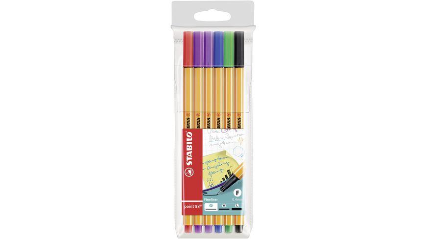 STABILO® Fineliner - STABILO point 88 - 6er Pack - mit 6 verschiedenen Farben