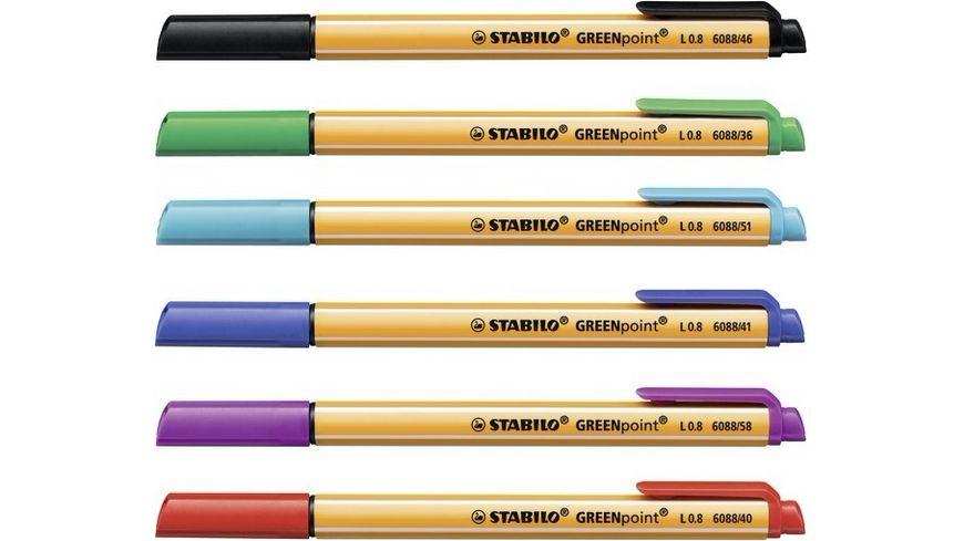 STABILO Filzstift GREENpoint 6er Etui