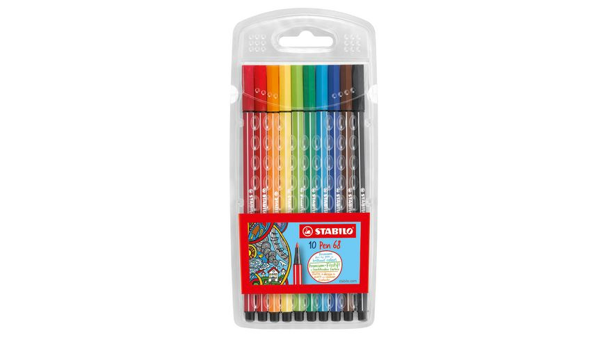 STABILO® Premium-Filzstift - STABILO Pen 68 - 10er Pack - mit 10 verschiedenen Farben