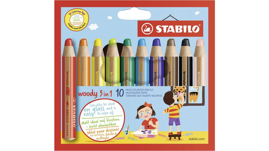 STABILO Multitalent Stift woody 3in1 10er Etui
