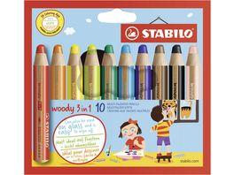STABILO Buntstift Wasserfarbe Wachsmalkreide STABILO woody 3 in 1 10er Pack mit 10 verschiedenen Farben