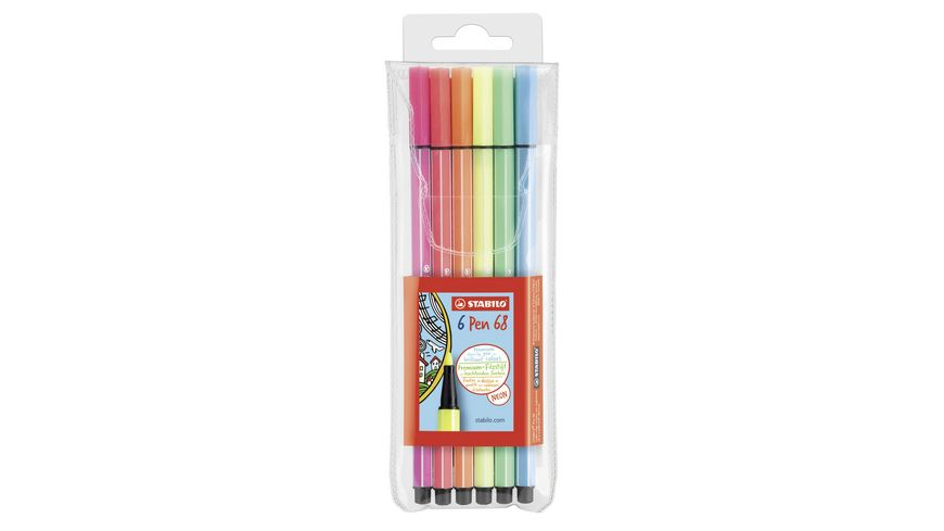 STABILO Premium Fasermaler Pen 68 Neon 6er Etui