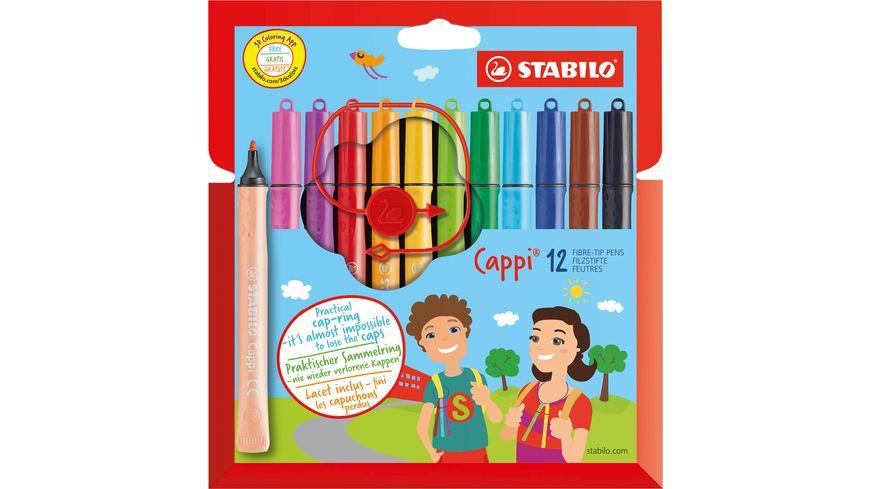 STABILO® Filzstift mit Kappenring - STABILO Cappi - 12er Pack - mit 12 verschiedenen Farben