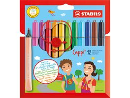 STABILO Filzstift mit Kappenring STABILO Cappi 12er Pack mit 12 verschiedenen Farben