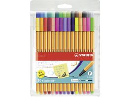 STABILO Fineliner STABILO point 88 30er Pack mit 30 verschiedenen Farben inklusive 5 Neonfarben