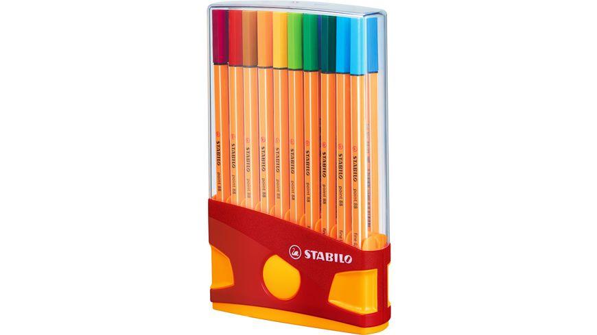 STABILO® Fineliner - STABILO point 88 ColorParade - 20er Tischset in rot/orange- mit 20 verschiedenen Farben