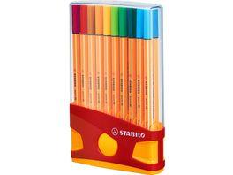 STABILO Fineliner STABILO point 88 ColorParade 20er Tischset in rot orange mit 20 verschiedenen Farben