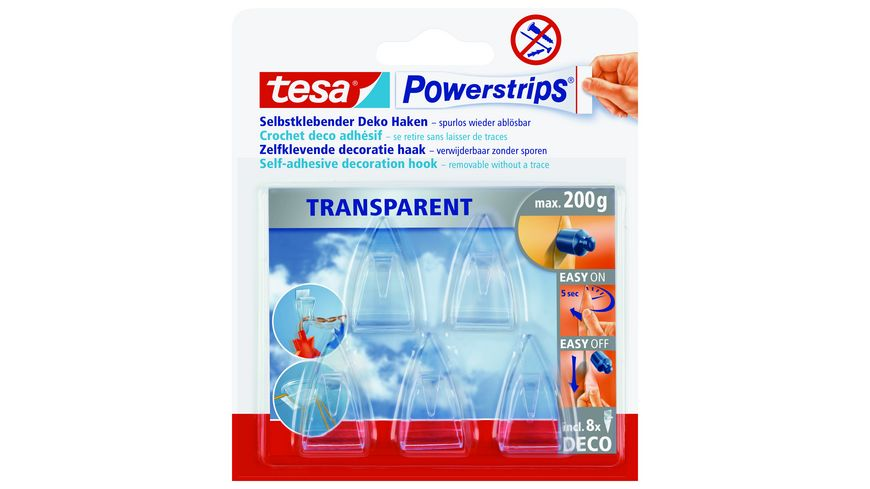 tesa Powerstrips transparent Deco Haken