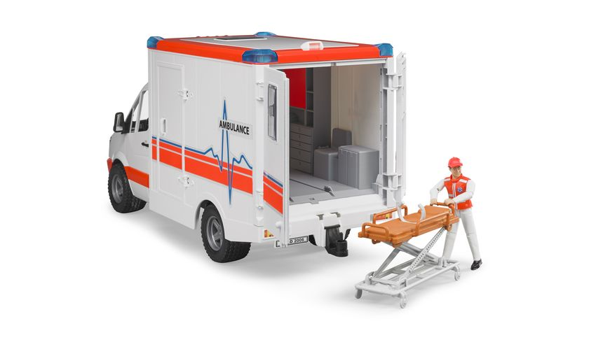 BRUDER MB Sprinter Ambulanz mit Sanitaeter 02536