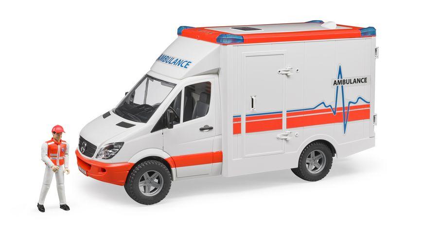 BRUDER MB Sprinter Ambulanz mit Sanitaeter 02536