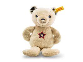Steiff Teddybaer Band Niklie Knister Teddybaer mit Rassel beige blau 23cm