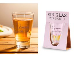 Geschenk fuer dich Trinkglas Queen of the day 250ml
