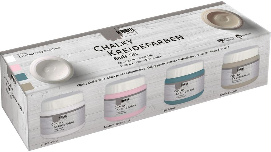 KREUL Kreidefarben Chalky Basis Set 4x 150 ml