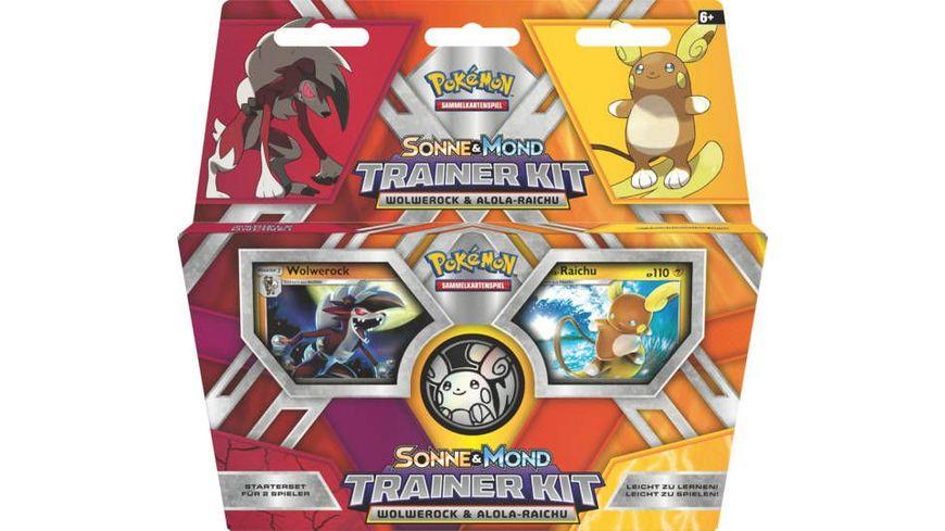 Pokemon Sammelkartenspiel Trainer Kit Sonne und Mond Raichu und Wolwerock