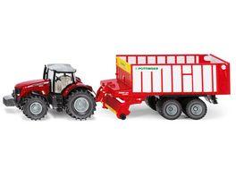 SIKU 1987 Farmer Massey Ferguson Traktor mit Poettinger Jumbo