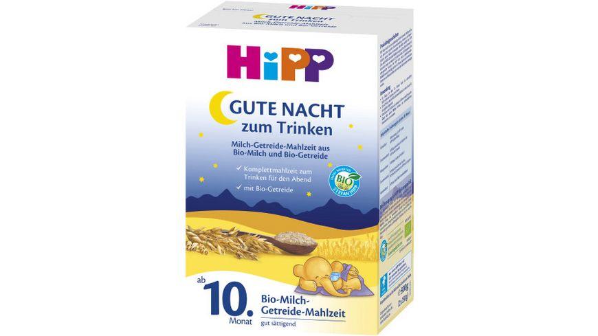 HiPP Milchnahrung Gute Nacht Milch Getreide Mahlzeit Bio