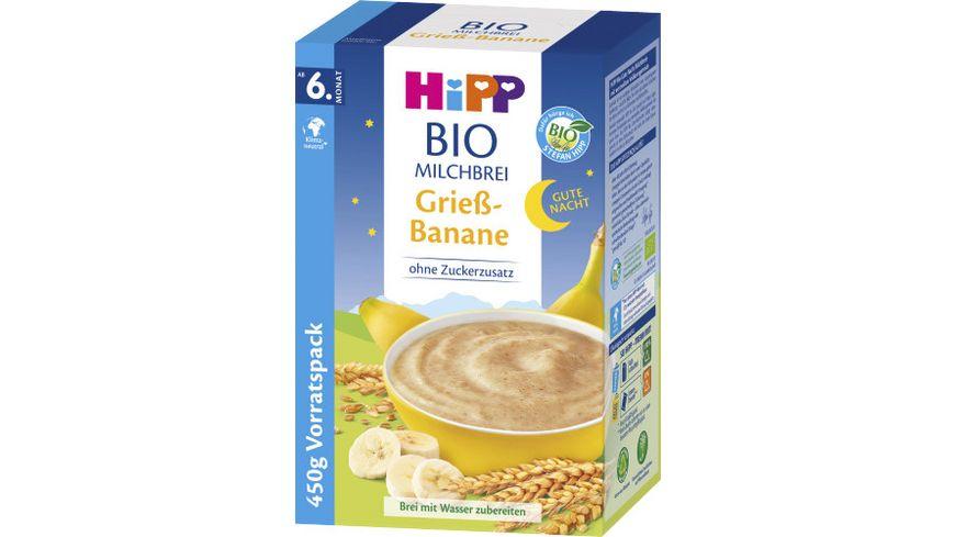 HiPP Bio Milchbreie Gute Nacht Brei Griess Banane 500g Vorratspackung