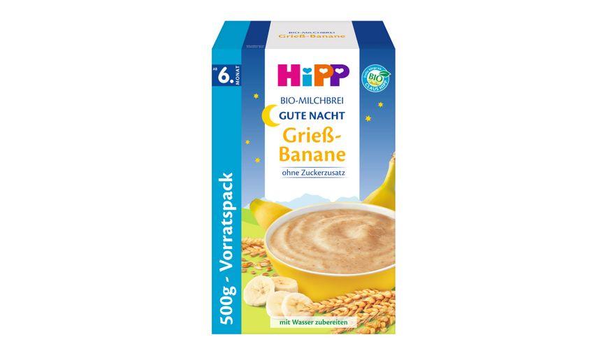 HiPP Beikost Milchbreie Gute-Nacht-Brei Grieß Banane, 500g Vorratspackung