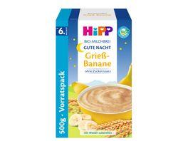 HiPP Bio Milchbrei ohne Zuckerzusatz 450g Gute Nacht Brei Griess Banane ab 6 Monat zwei Einzalpackungen a 225g