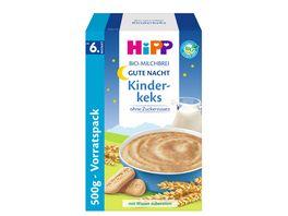 HiPP Bio Milchbrei ohne Zuckerzusatz 450g Gute Nacht Brei Kinderkeks ab 6 Monat zwei Einzelpackungen a 225g