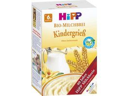 HiPP Bio Milchbrei ohne Zuckerzusatz 450g Kindergriess ab 6 Monat zwei Einzelpackungen a 225g