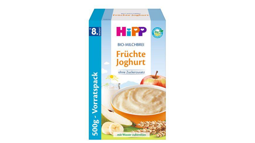 HiPP Bio-Milchbrei ohne Zuckerzusatz 450g: Früchte Joghurt, ab 8. Monat, zwei Einzelbeutel a 225g