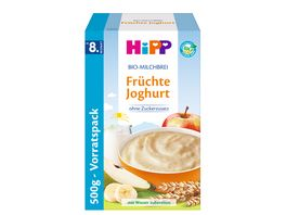 HiPP Bio Milchbrei ohne Zuckerzusatz 450g Fruechte Joghurt ab 8 Monat zwei Einzelbeutel a 225g