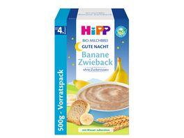 HiPP Bio Milchbrei Gute Nacht Brei Banane Zwieback ohne Zuckerzusatz Vorratspackung 450g zwei Einzelpackungen a 225g